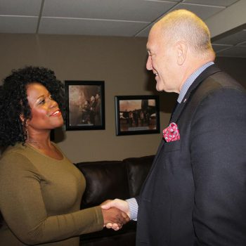 Cast member Q. Smith and United States Ambassador to Canada Bruce Heyman.