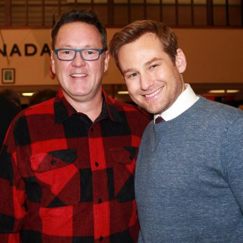 Come From Away Kevin Tuerff and cast member Chad Kimball.