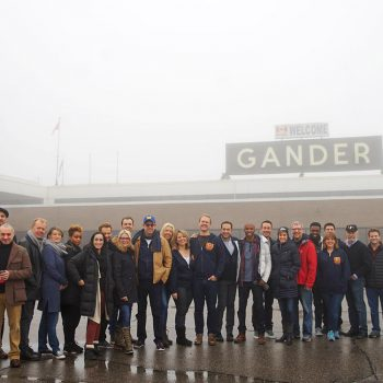 Come From Away team at Gander International Airport.