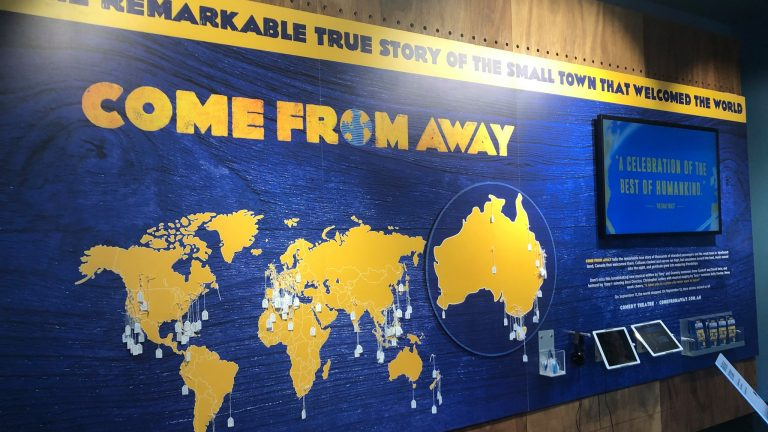 Full Image of the the 'Come From Away' map at the Melbourne Visitors Centre